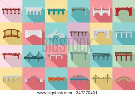 Bridges Icons Set. Flat Set Of Bridges Vector Icons For Web Design