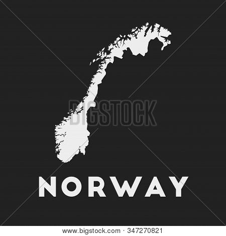 Norway Icon. Country Map On Dark Background. Stylish Norway Map With Country Name. Vector Illustrati
