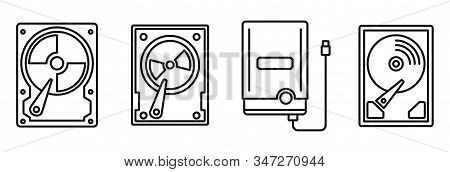 Compact Hard Disk Icons Set. Outline Set Of Compact Hard Disk Vector Icons For Web Design Isolated O