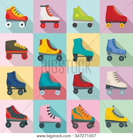 Roller Skates Icons Set. Flat Set Of Roller Skates Vector Icons For Web Design