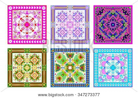 Set Of 6 Different Square Ornaments Done In Kaleidoscopic Style. Beautiful Background For Pillow, Ta