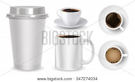 Realistic Coffee Cups. Top View Mug Cup Take Away Coffee Vector Collection. White Mugs Isolated On W