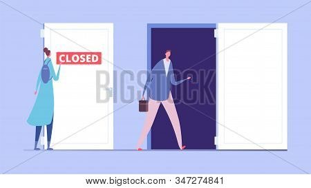 Woman Discrimination Concept. Business Discrimination, Male And Female Flat Characters. Closed And O