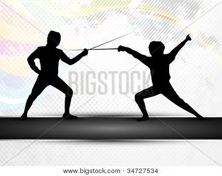 Silhouette of fencing athletes practicing on abstract grungy background. EPS 10.