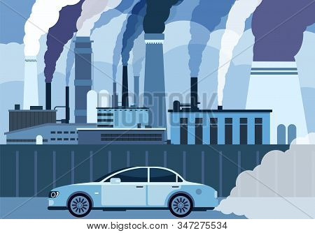 Car Air Pollution. City Road Smog, Toxic Air Atmosphere Contamination. Exhaust Chemical Carbon Car W