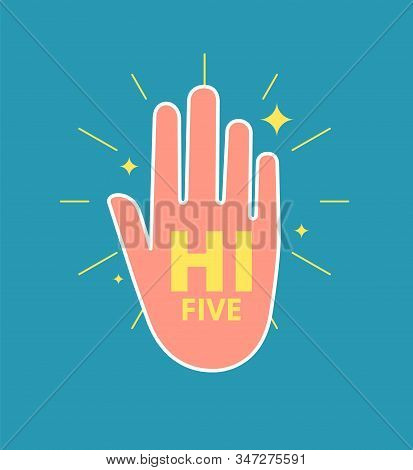 High Five Hand. Young Man Gesture Hands, Informal Greeting. Friendship Or Great Work Team, Professio
