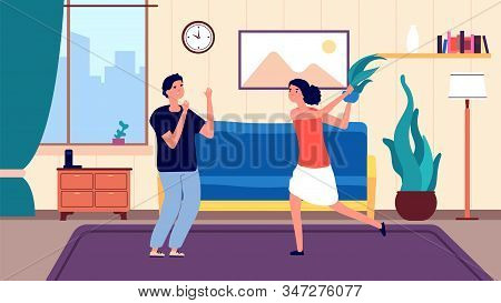 Family Quarrel. Angry Arguing Girl, Couple Have Problems Relationship. People Divorce And Abusive Ea