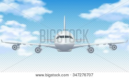 Flight Plane. Realistic 3d Airplane Flying In Blue Sky. White Cargo Aircraft Or Commercial Airliner