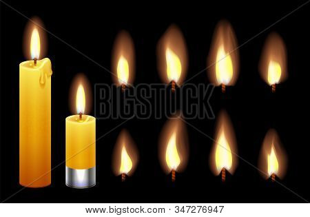 Candle Flame. Burning Wax Candles Lights And Flames. Fire Candlelight Isolated On Black Background.