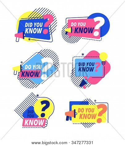 Do You Know. Questions Templates, Did You Know Banners. Interesting Post, Abstract Business Isolated