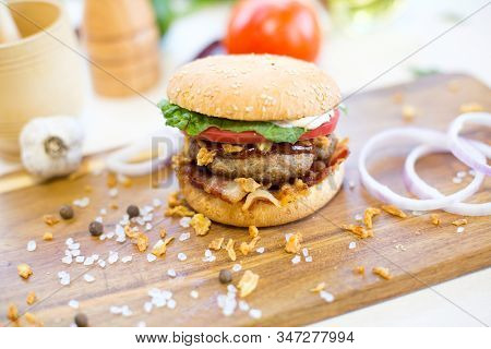 Delicious Fast Food. Homemade Hamburger. Large. Homemade, Beef Hamburger With Cheese And Vegetables.