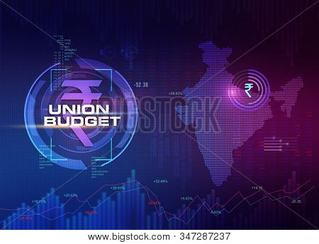 India Union Budget, India Economic Background, India Finance Background, Abstract Dark Background Il