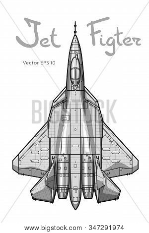 The Newest Russian Jet Fighter Aircraft. Vector Draw