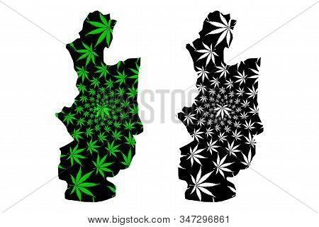 Central Province (democratic Socialist Republic Of Sri Lanka, Ceylon) Map Is Designed Cannabis Leaf