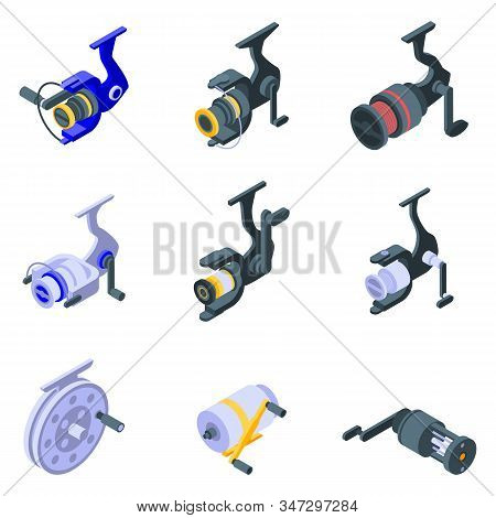 Fishing Reel Icons Set. Isometric Set Of Fishing Reel Vector Icons For Web Design Isolated On White