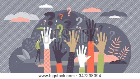 Questions Concept, Flat Tiny Person Vector Illustration With Raised Auditory Hands. Public Crowd Par