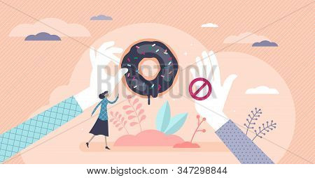 Healthy Choices Dieting Concept, Flat Tiny Female Person Vector Illustration With Giving And Stoppin