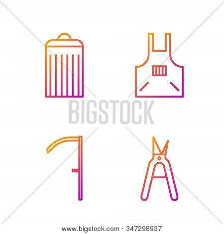Set Line Gardening Handmade Scissors, Scythe, Trash Can And Kitchen Apron. Gradient Color Icons. Vec