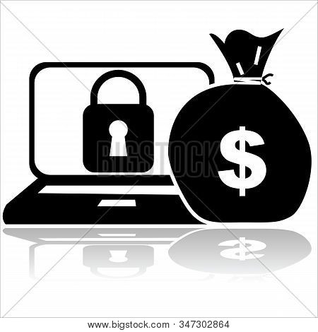 Concept Illustration Showing A Locked Computer And A Bag Of Ransom Money Beside It