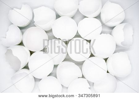 Close up top view of lots of broken white eggshells on a white background poster