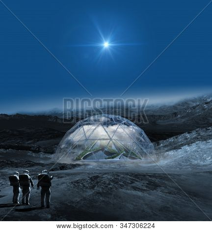 Alien Planet With Astronauts Pointing To A Terraforming Dome With A Pyramid In The Clouds, For Scien