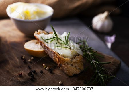 Sandwich With Homemade Lard. Traditional Delicacy Made Of Pig Fat.