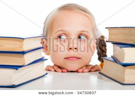 Girl  Choosing The Books On Isolated White