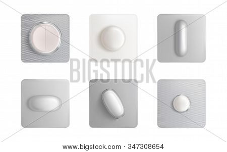 Pills Blister Pack Set, Medicine Tablets And Capsules Mock Up Isolated On White Background. Painkill