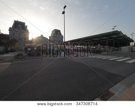 Ostend, Belgium - 7 August 2018: Image Of The Ostend Train Station And Its Surroundings.