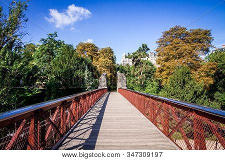 Hanging Bridge In Buttes-chaumont Park, Paris, France