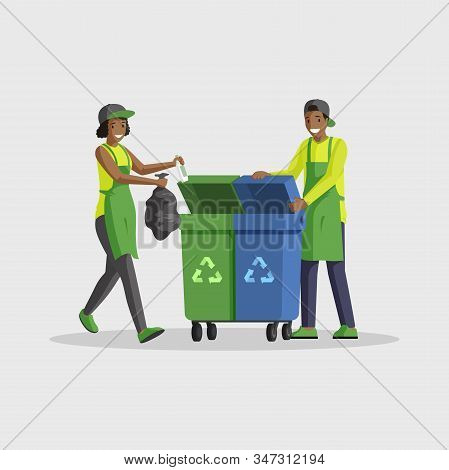 People Taking Out Rubbish Flat Vector Illustration. Volunteers Sorting Waste, Putting Garbage Bag In