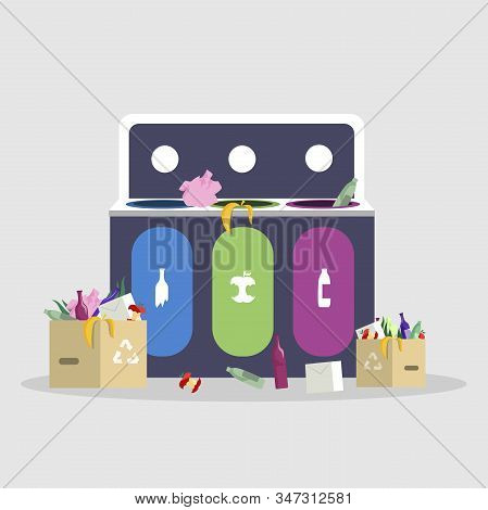 Trash Sorting, Separation Flat Vector Illustration. Waste Management, Recycling And Reducing, Garbag