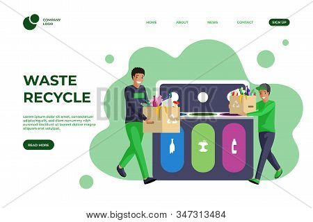Trash Sorting Flat Landing Page Template. Waste Management, Garbage Reducing, Segregation And Recycl