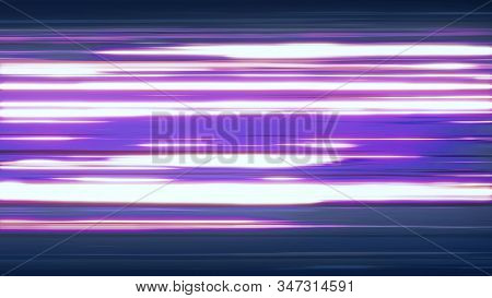 Fast Neon Light Streaks. Fast Speed Neon Glowing Flashing Lines Streaks In Purple Pink And Cool Blue