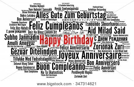 Happy Birthday In Different Languages Word Cloud