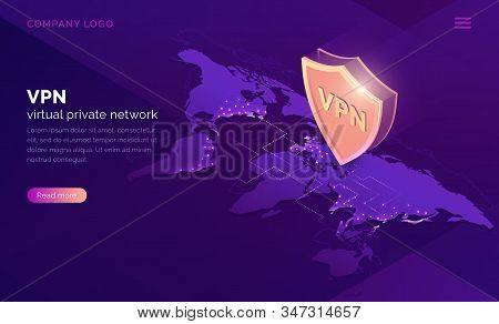 Vpn, Virtual Private Network Isometric Landing Page. Data Encryption, Ip Substitute, Secure Connecti