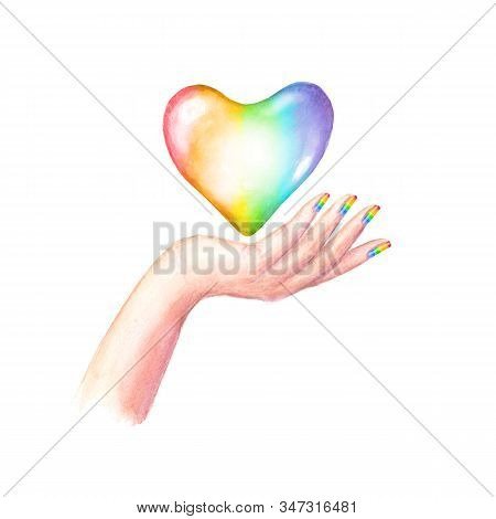 Beautiful Woman's Hand With Lgbt Flag Colors Manicure Nails And Rainbow Heart Isolated On White Back