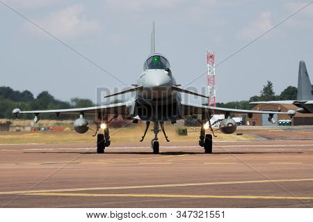Fairford / United Kingdom - July 12, 2018: Royal Air Force Eurofighter Typhoon Zk378 Fighter Jet Air