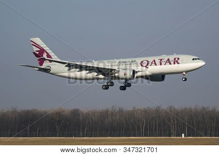 Budapest / Hungary - November 11, 2018: Qatar Airways Airbus A330-200 A7-ack Passenger Plane Arrival
