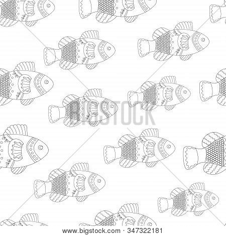 Seamless Pattern Fish, Ornamental Graphic Fish, Floral Line Pattern. Vector. Zentangle Doodle. Color