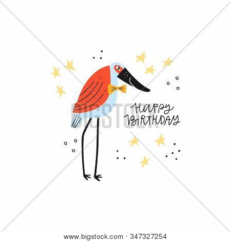 Heron With Happy Birthday Phrase Flat Illustration