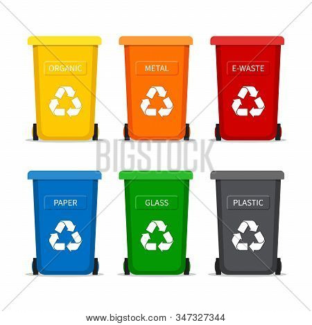 Garbage Bin With Recycle Icon For Trash. Container Dustbin For Paper, Plastic, Glass, Organic, E-was