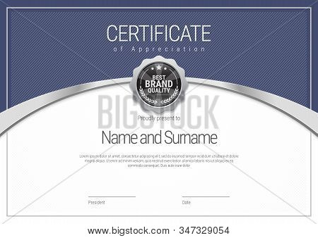 Silver Certificate Template. Diploma Of Modern Design Or Gift Certificate. Vector Illustration.