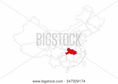 Hubei Province Highlighted On China Map. White Background. Perfect For Backgrounds, Backdrop, Busine