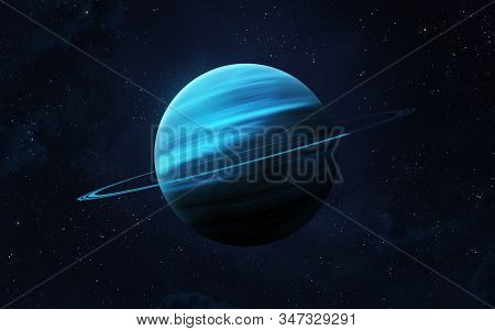 View Of Planet Uranus From Space. Space, Nebula And Planet Uranus. This Image Elements Furnished By