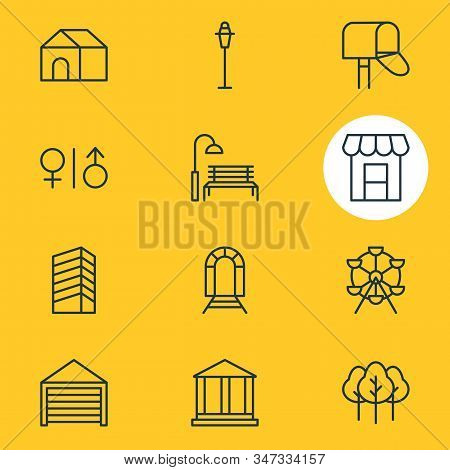 Vector Illustration Of 12 Urban Icons Line Style. Editable Set Of Streetlight, Wc, Storefront And Ot
