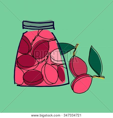 Jars With Stewed Plums Vector Illustration. Healthy, Organic Foods, Veganism Theme. Home Canning The