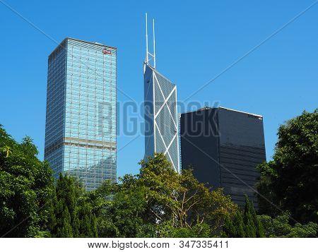 Central, Hong Kong - November 1, 2017: A View Of Hong Kongs Skyline From Hong Kong Zoological And Bo