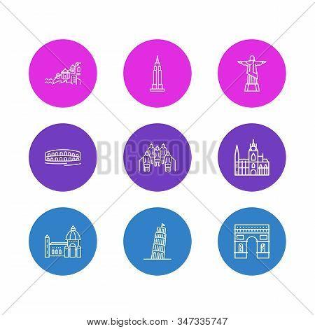Vector Illustration Of 9 History Icons Line Style. Editable Set Of Pisa, Terracota Warriors, Arc De