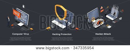 Set Of Isometric Hacking Concept. Set Of Illustrations Of Computer Virus, Hacking Protection, Hacker